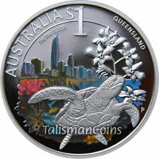 2010 Celebrate Australia Queensland Great Barrier Reef Sea Turtle $1 Silver Prf