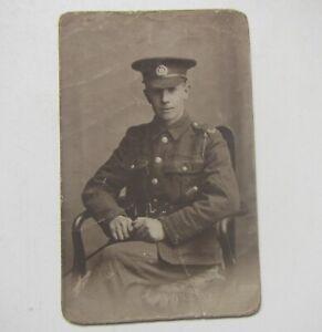 Old WW1 Northamptonshire Regiment Soldier Photo Postcard