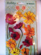 Glückwunschkarten basteln Aufkleber 3 D Sticker mit Klebepad  Deko Sommerblumen