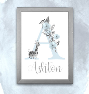 Personalised A4 Initial Alphabet Print Giraffe Baby Child - Floral Pink or Blue