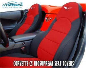 Chevy Corvette C5 Coverking Neosupreme Custom Fit Seat Covers with C5 Logo 97-04