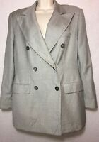 Max Mara Womens Double Breasted Blazer Jacket Size 12 Gray Lined 100% Pure Wool