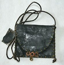 New OSM Flap Bag Crossbody Handbag Purse Black Leather Say What You Mean Hipster