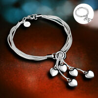 925 Silver Wholesale Costume Jewellery Hand Chain Heart Bracelet Bangle Women