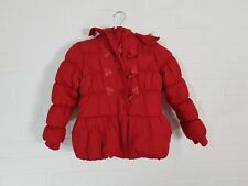 GIRLS RED WARM WINTER ZIP BUTTON UP FLUFFY HOOD COAT 6 YEARS *FREE UK SHIPPING