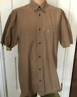Columbia Shirt Mens Size L Short Sleeve Large Brown Cotton