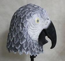 African Grey Parrot Mask Latex Overhead Fancy Dress Halloween Bird Costume Adult