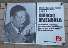 PCI PARTITO COMUNISTA ITALIANO AFFICHE MANIFESTO POSTER MORTO GIORGIO AMENDOLA