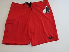 Quiksilver Men's 38 Board Shorts Everyday 21 Solid Red Black Logo NWT