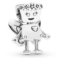 NEW 925 Sterling Silver Floral Robot Bella Bot Charm Bead Fit Bracelets Women