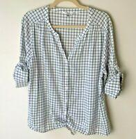 Croft & Barrow Women's Shirt Size XL Top Blouse 3/4 Roll-Tab Sleeves Tie Waist