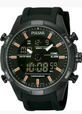 Pulsar Mens Analogue & Digital Sport Chronograph Rubber Strap Watch PW6007. New