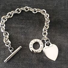 Tiffany & Co Sterling Silver Heart Toggle Donut Link Bracelet