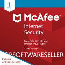 McAfee Internet Security 2018 1 PC/MAC/TABLET 12 MONTHS LICENSE Antivirus 2018