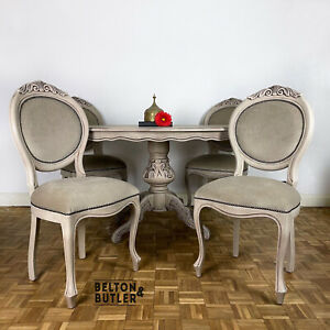 Italian Dining Table and Four Upholstered Chairs Set in Hand Painted In Stone