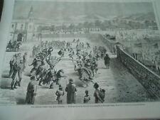 Gravure 1863 - Fête Indiennes à Santa Anna danse guerrière Fernand Cortez