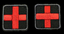 MEDIC CROSS EMT EMS RED CROSS (1.0 x 1.0) 2 PC FIRST AID HOOK PATCH BY MILTACUSA