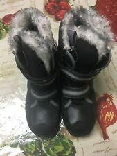 Timberland Leather Canvas Thermolite Faux Fur Winter Hiking Black Boots 3.5 BOY