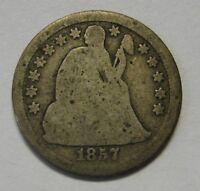 Circulated 1857 Seated Liberty Dime Grading GOOD      p986