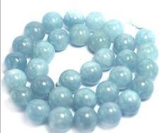 "10mm Natural Aquamarine Round Genuine Gemstone Loose Beads 15"" Strand JL3"