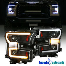 For 2015-2017 Ford F150 Black LED DRL Sequential Projector Headlights Switchback