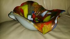 CASED LATTIMO Lg Free Form TURNED DOWN EDGE Art Glass Bowl EOD CENTERPIECE ITALY