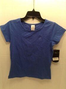 Adidas Stretch Training Shirt Top Juniors Size Medium Blue