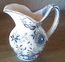 Vintage Ceramic Made in Japan Large Cobalt Blue Flower Creamer Pitcher Sauce Old
