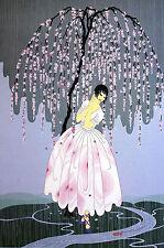 Erte 1982 BLOSSOM UMBRELLA Girl Under Pink Flowering Tree Fashion Print Matted