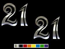 (2) 21 Twenty One Tribal Number Vinyl Decal Set CUSTOM SIZE COLOR for CARS,TRUCK