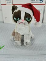 """8"""" Grumpy Cat Sitting with Christmas Hat GREAT GIFT! CUTE!"""