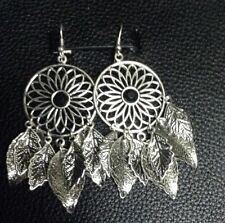 Crystal Feather Silver Plated Drop/Dangle Costume Earrings