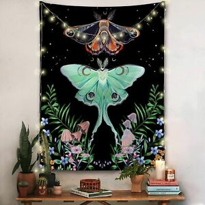 Moonlit Garden Moon Moth Floral Vines Black Wildflower Aesthetic Wall Tapestry