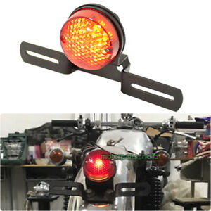 Motorcycles LED License Plate Brake Tail lights Red Lamp For Bobber Cafe Racer