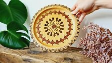 Vintage Hand carved wood turned decorative plate art fruit bowl decorated folk