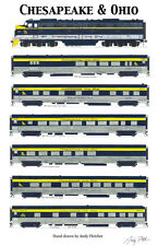 "Chesapeake & Ohio Passenger 11""x17"" Poster by Andy Fletcher signed"