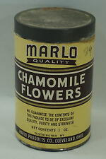VINTAGE HERB TIN CHAMOMILE FLOWERS MARLO PRODUCTS ADVERTISING BOTANICAL