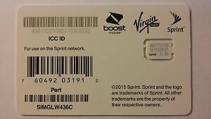 Sprint Nano Sim Card for iPhone 6 & 6+ Plus Sprint Boost Virgin SIMGLW436C New