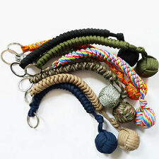 Outdoor Self Defense Paracord Monkey Fist Steel Ball Keychain Keyring