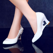 Women's High Wedge Heel Bowknot Hollow Out Wedding Candy Slip On Shoes All UK Sz