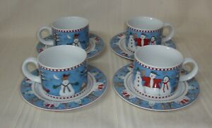 "Debbie Mumm Snowman By Sakura Mug And Saucer Set Of 4. 8oz Mug. 6 3/8"" Saucer"