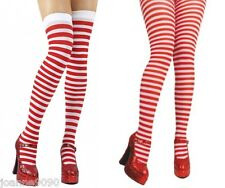 mujer rojo y Blanco Franjas Stripey rayas al Muslo Medias Disfraz