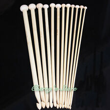 "10"" 25cm 12 Sizes Afghan Tunisian Bamboo Crochet Hooks Knitting Needles"