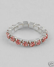PINK Rhinestone Eternity Stretch Adjustable Ring Band