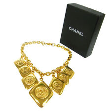 Authentic CHANEL Vintage CC Logos Gold Chain Pendant Necklace Accessories V12522