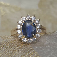 1.75 Ct Genuine Diamond Blue Sapphire Ring 14K Solid White Gold Size 4 5 6 7 8