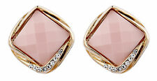 Clip On Earrings - gold plated vintage pink stone & crystals stud - Betty P