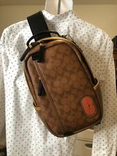 NWT Coach 5600 Edge Pack/Sling Pack Signature Leather Brown MRSP $398