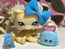Littlest Pet Shop LPS Authentic 2063 Yellow Cream Persian Kitten Cat Blue Eyes