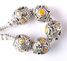 5pcs Tibetan silver love lampwork spacer beads fit Charm European Bracelet #E232